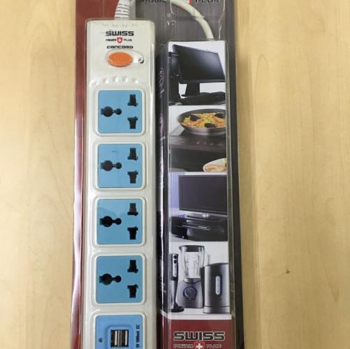 Ổ Cắm SWISS PLUS (MP-105U) 2,1M ( 5 Ổ + USB)